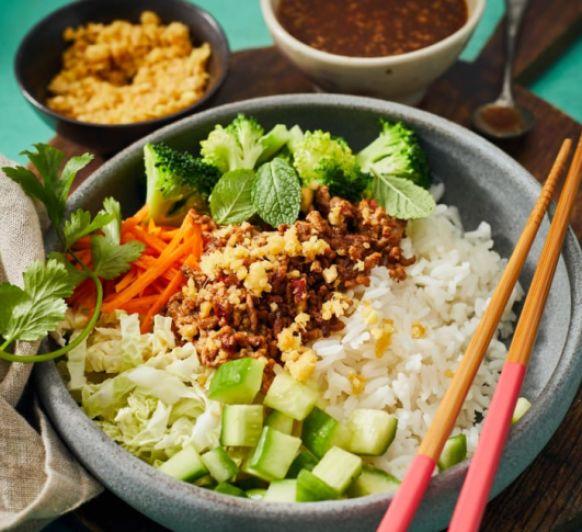 Poke bol de arroz con cerdo y salsa hoisin con Thermomix® desde Majadahonda Madrid