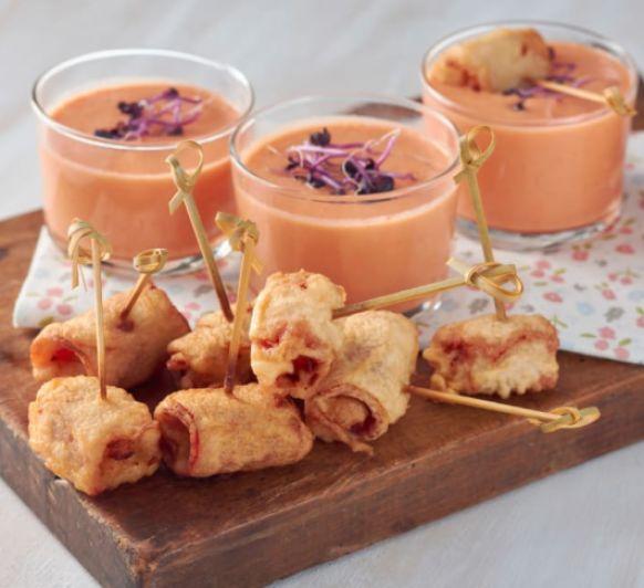 Melón con jamón en tempura con gazpacho de melón con Thermomix® desde Majadahonda Madrid