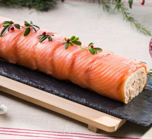 Brazo de gitano de gambas y salmón marinado con Thermomix® -Majadahonda-Madrid