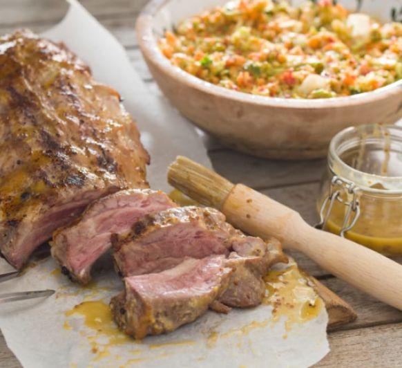 Costillas de cerdo a la brasa con salsa de mostaza y miel y ensalada Con Thermomix® desde Majadahonda Madrid